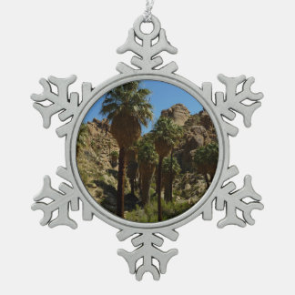 Lost Palms Oasis I at Joshua Tree National Park Pewter Snowflake Decoration