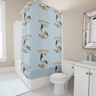 Lost Pigeon Fun Shower Curtain
