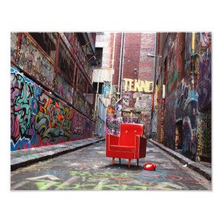 LOST - retro furniture in graffiti laneway Photograph