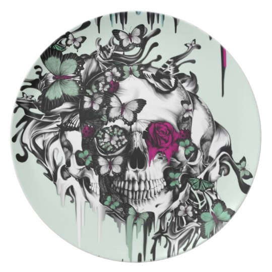 Lost soul mint and pink floral skull dinner
