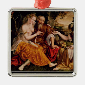 Lot and his Daughters, c.1565 Silver-Colored Square Decoration