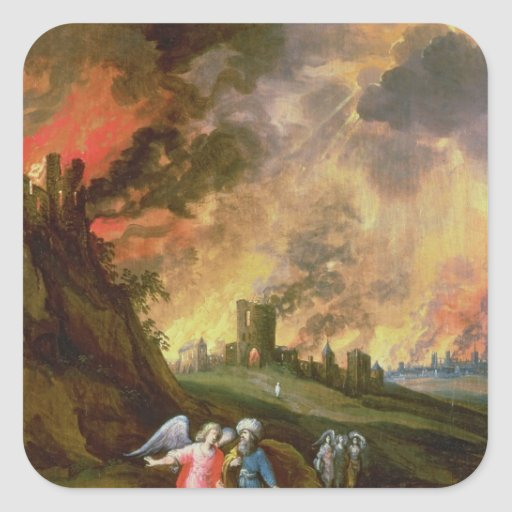 Lot and His Daughters Leaving Sodom Stickers