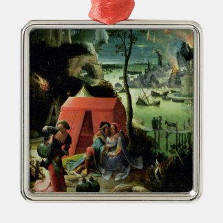 Lot and his Daughters (oil on panel) Silver-Colored Square Decoration