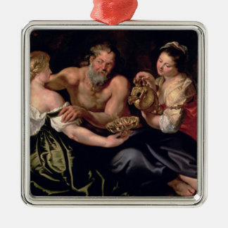 Lot and his daughters Silver-Colored square decoration