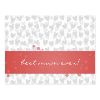 lot of hearts for best mum ever postcard