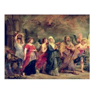 Lot's Family Leaving Sodom, 1625 (oil on panel) Postcard