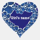 Lots of Blue Flowers Girls Customisable Sticker