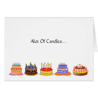 Lots of Candles Lots of Celebrating Birthday Cake Greeting Card