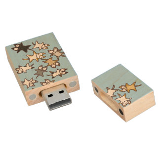 Lots of Cats Wood USB 2.0 Flash Drive