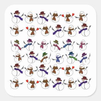 Lots of  Christmas Cartoon Snowmen Square Sticker