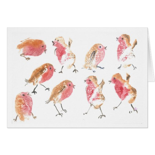Lots of Christmas robins Card