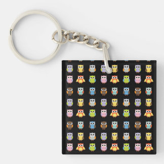 Lots of Colourful Cute Owls Pattern Single-Sided Square Acrylic Key Ring