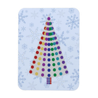 Lots of Dots Christmas Tree on Snowflake Blizzard Rectangular Photo Magnet
