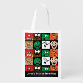 Lots of Fun Scary Halloween Characters Faces Reusable Grocery Bag