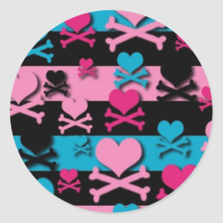 Lots of Hearts and Cross Bones Round Sticker