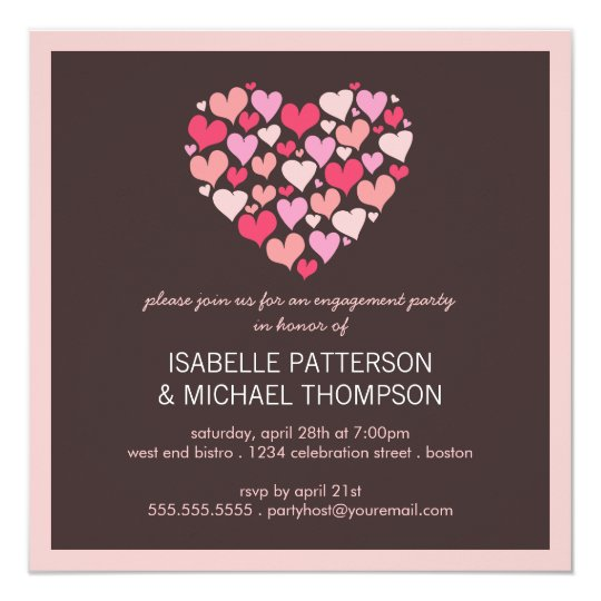 Lots of Hearts Love Engagement Party Invitation