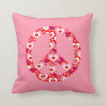 Lots of Hearts Peace Sign Throw Pillow