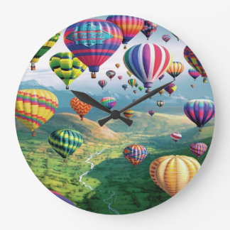 Lots of Hot Air Balloons Round Large Wall Clock