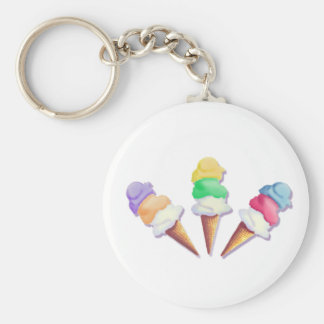 LOTS of ICE CREAM FLAVORS by SHARON SHARPE Basic Round Button Key Ring