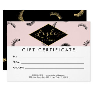 Lots of Lashes Lash Salon Pink/Black Gift Card 11 Cm X 16 Cm Invitation Card