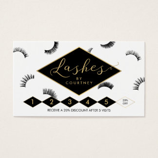 Lots of Lashes Lash Salon White/Black/Gold Loyalty Business Card