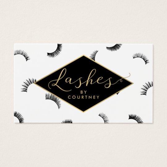 Lots of Lashes Pattern Lash Salon White/Black/Gold Business