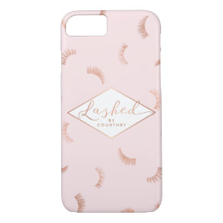 Lots of Lashes Pattern Pink/Rose Gold Lashed Text iPhone 8/7 Case