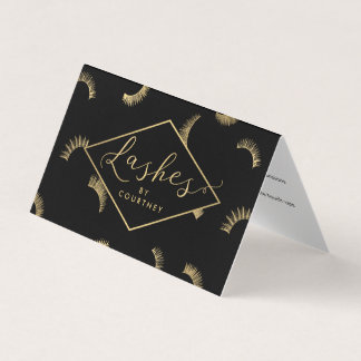 Lots of Lashes Salon Black/Gold Aftercare Business Card