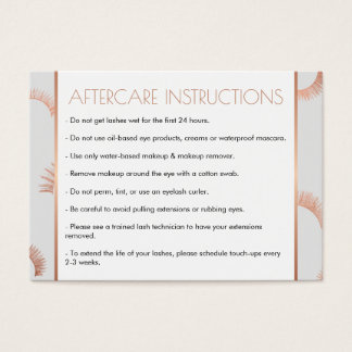Lots of Lashes Salon Gray/Rose Gold Aftercare Card