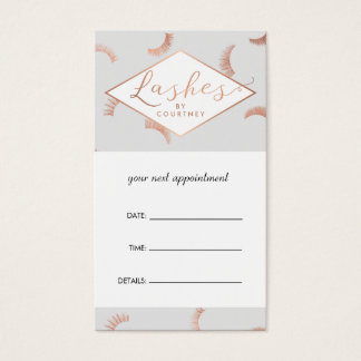 Lots of Lashes Salon Gray/Rose Gold Appointment Business Card