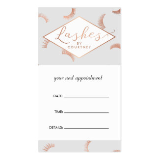 Lots of Lashes Salon Gray/Rose Gold Appointment Pack Of Standard Business Cards