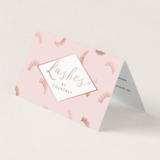 Lots of Lashes Salon Pink/Rose Gold Aftercare Business Card