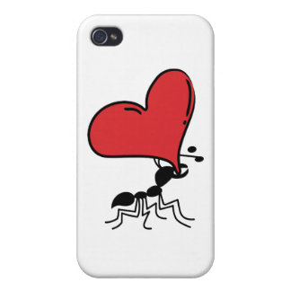 Lots of Love, Cute Ant Holding Huge Red Heart iPhone 4 Cover