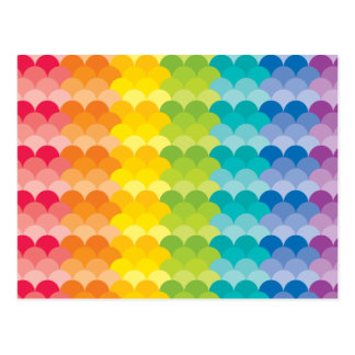 Lots of Painted Palette Rainbow Scallops Postcard