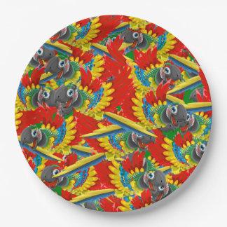 Lots of Parrots Paper Plate