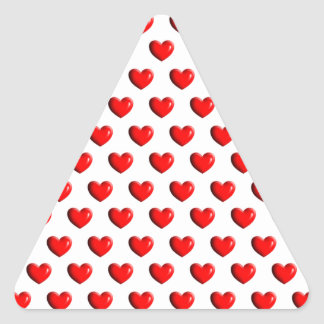 Lots of Red Love Hearts Triangle Sticker