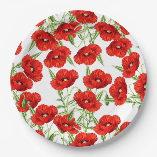 Lots of Red Poppies Paper Plate
