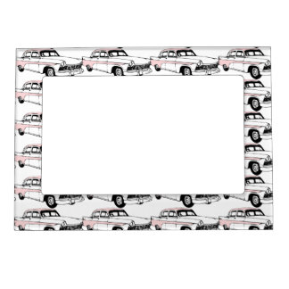 Lots of Vintage Pink Cars Magnetic Picture Frame