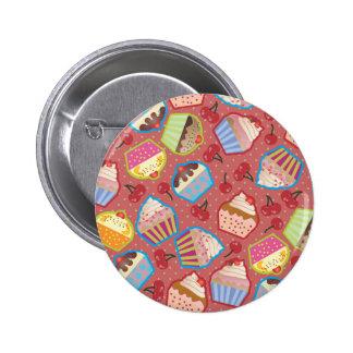 Lotsa Cupcakes n Cherries Pink Button