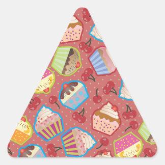 Lotsa Cupcakes n Cherries Pink Triangle Sticker