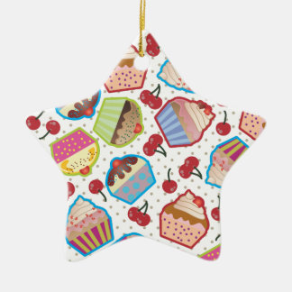 Lotsa Cupcakes n Cherries Star Ornament