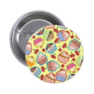 Lotsa Cupcakes n Cherries Yellow Button