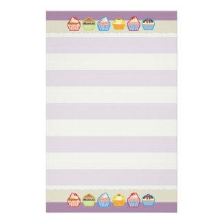 Lotsa Cupcakes Purple Stripes Stationery