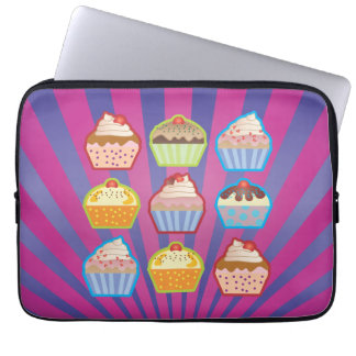 Lotsa Cupcakes Purply Blue Stripes Laptop Sleeve