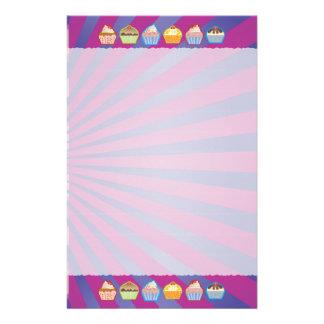 Lotsa Cupcakes Purply Blue Stripes Stationery