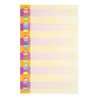 Lotsa Cupcakes Yellowy Pink Stripes Stationery