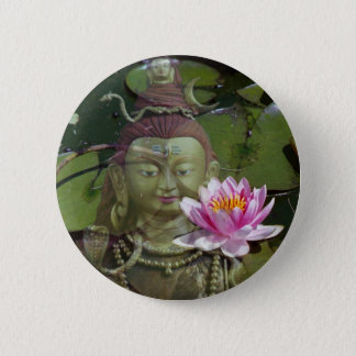 Lotus 1 & Buddha 6 Cm Round Badge
