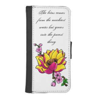 Lotus and cherry blossoms iPhone SE/5/5s wallet case