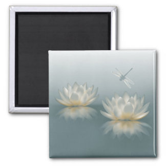 Lotus and Dragonfly Square Magnet