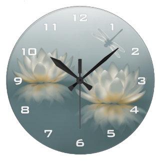 Lotus and Dragonfly Wall Clock